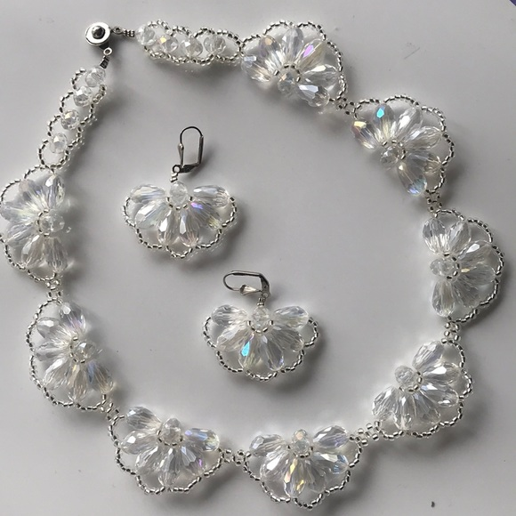 handmade Jewelry - Hand made white Necklace & Earrings